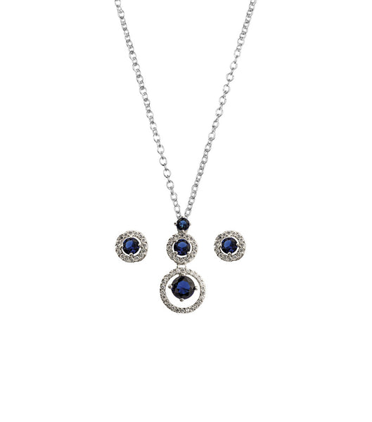 Blue And White Cubic Zirconia Earring And Pendant Set, Jewellery Sets - Katherine Swaine