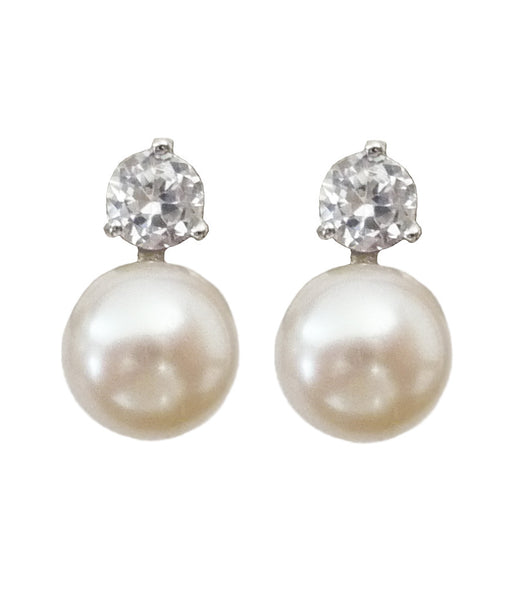 Cubic Zirconia and Cultured Pearl Earrings, earrings - Katherine Swaine
