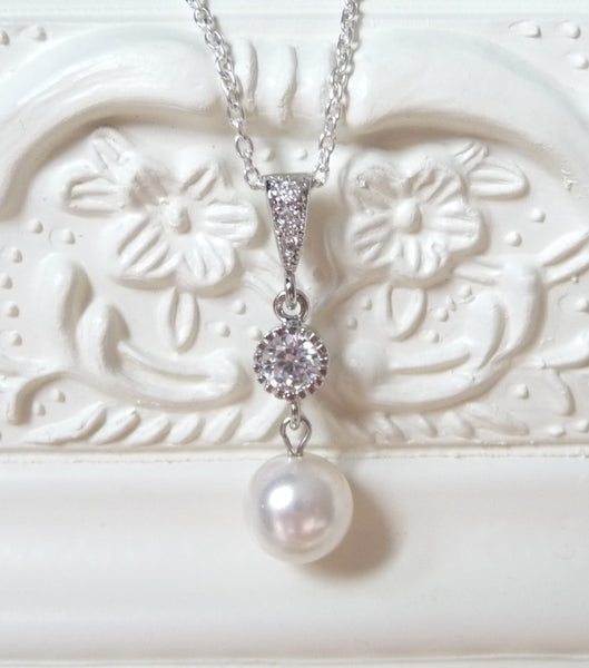 Crystal And Pearl Drop Pendant Necklace, Necklace - Katherine Swaine