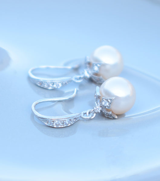Crystal Embellished Leaf Pearl Drop Earrings, earrings - Katherine Swaine