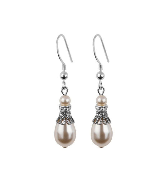 Crystal Filigree And Pearl Fish Hook Earrings, earrings - Katherine Swaine
