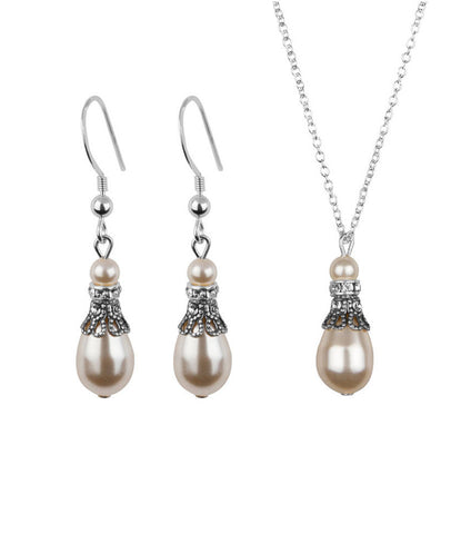 Crystal Filigree And Pearl Earring And Necklace Set, Jewellery Sets - Katherine Swaine