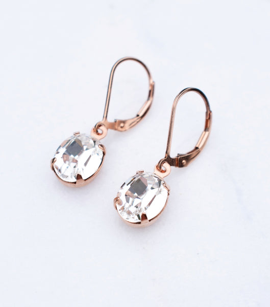 Rose Gold Crystal Oval Leverback Earrings, earrings - Katherine Swaine