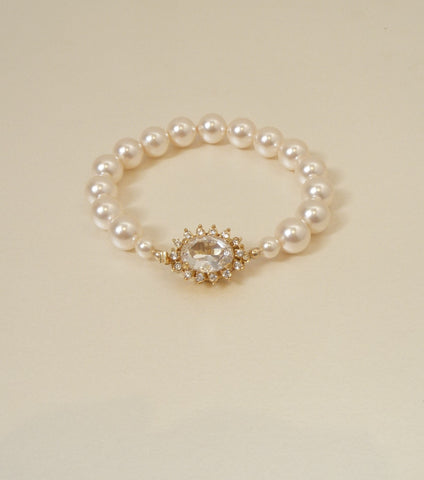 Crystal And Pearl Single String Bracelet, bracelet - Katherine Swaine