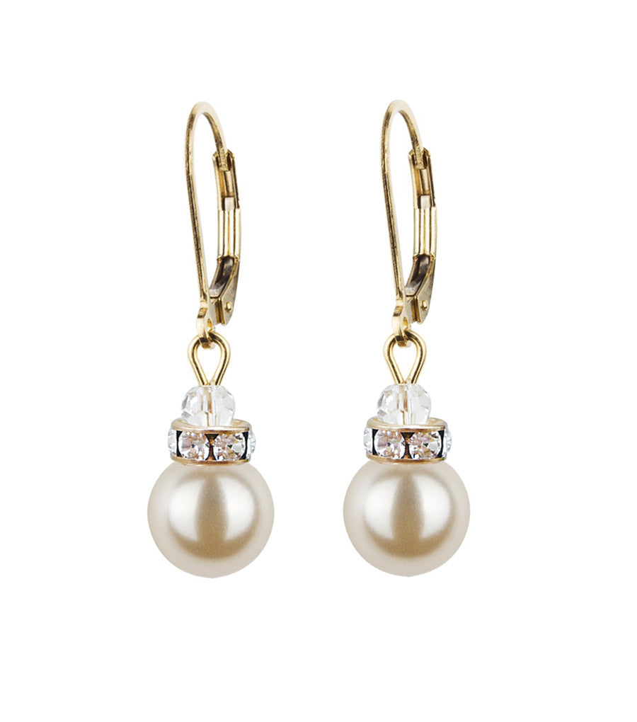 82fdd3a5c90573 Crystal Rondelle And Pearl Leverback Earrings, earrings - Katherine Swaine