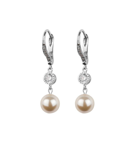 Crystal And Pearl Leverback Earrings- Katherine Swaine