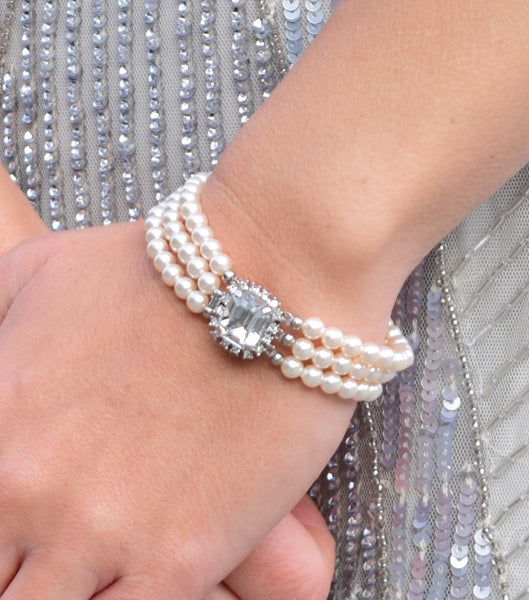 Crystal And Pearl Three String Bracelet, bracelet - Katherine Swaine