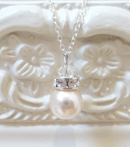 Crystal Rondelle And Pearl Pendant Necklace, Necklace - Katherine Swaine
