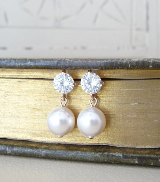 Cubic Zirconia And Pearl Rose Gold Earrings, earrings - Katherine Swaine