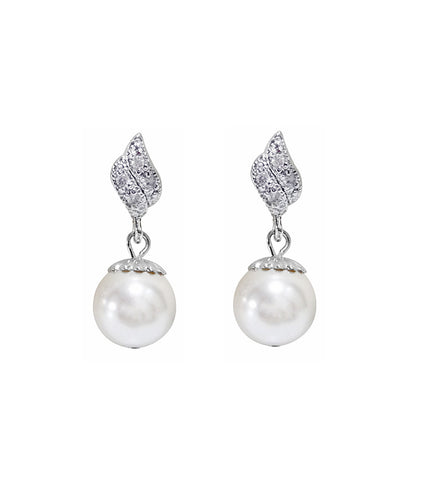 Cubic Zirconia Pearl Drop Earrings, earrings - Katherine Swaine