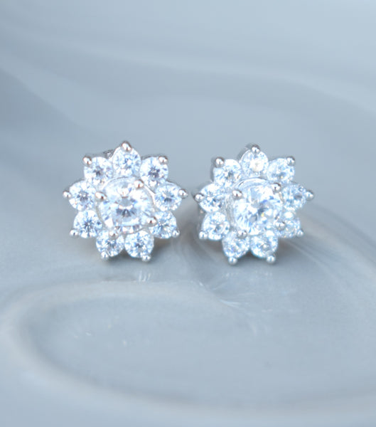 Cubic Zirconia Flower Stud Earrings, earrings - Katherine Swaine