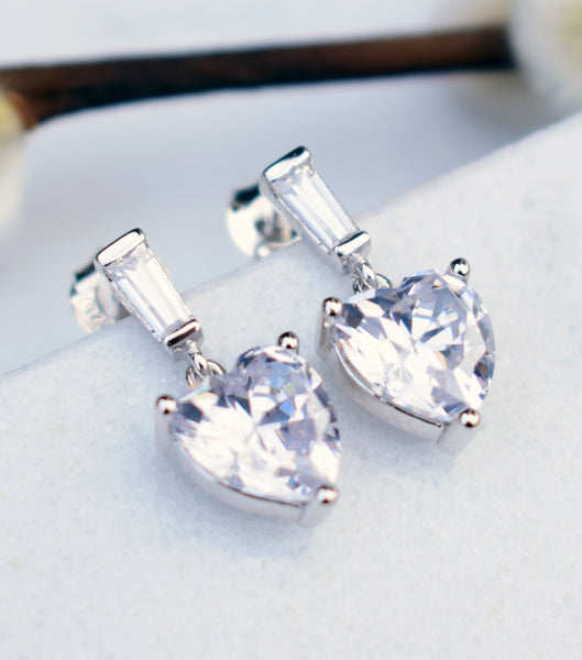 Cubic Zirconia Heart Drop Earrings, earrings - Katherine Swaine