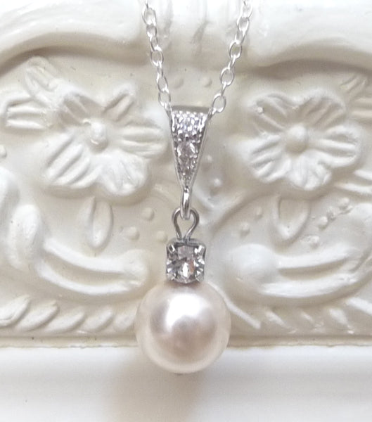 Cubic Zirconia, Rhinestone And Pearl Pendant Necklace, Necklace - Katherine Swaine