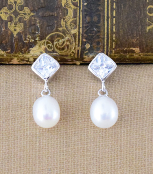 Cultured Pearl And Cubic Zirconia Drop Earrings, earrings - Katherine Swaine