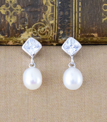 Katherine Swaine, Cultured Pearl And Cubic Zirconia Drop Earrings