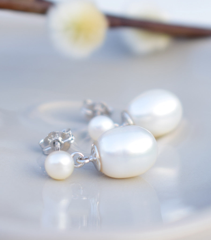 Cultured Pearl Drop Earrings, earrings - Katherine Swaine