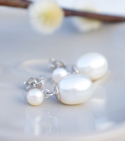 Cultured Pearl Drop Earrings, Katherine Swaine