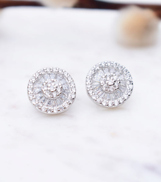 Silver Deco Cluster Stud Earrings, earrings - Katherine Swaine