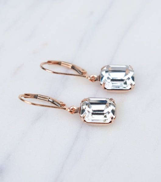 Crystal Deco Inspired Leverback Earrings, earrings - Katherine Swaine