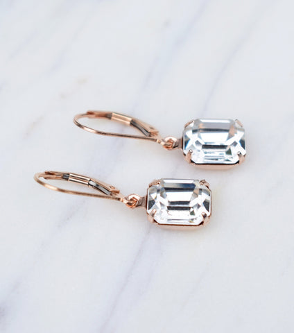 Crystal Deco Inspired Leverback Earrings - Katherine Swaine