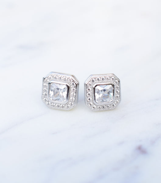 Deco Square Cubic Zirconia Stud Earrings, Katherine Swaine