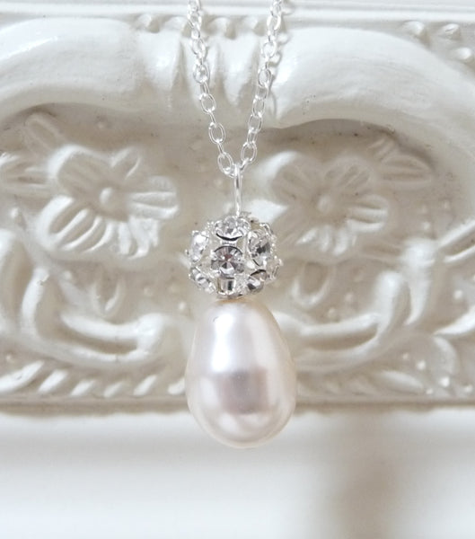 Diamante And Pearl Pendant Necklace, Necklace - Katherine Swaine