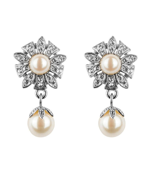 Antique Style Flower Pearl Clip On Earrings - Katherine Swaine