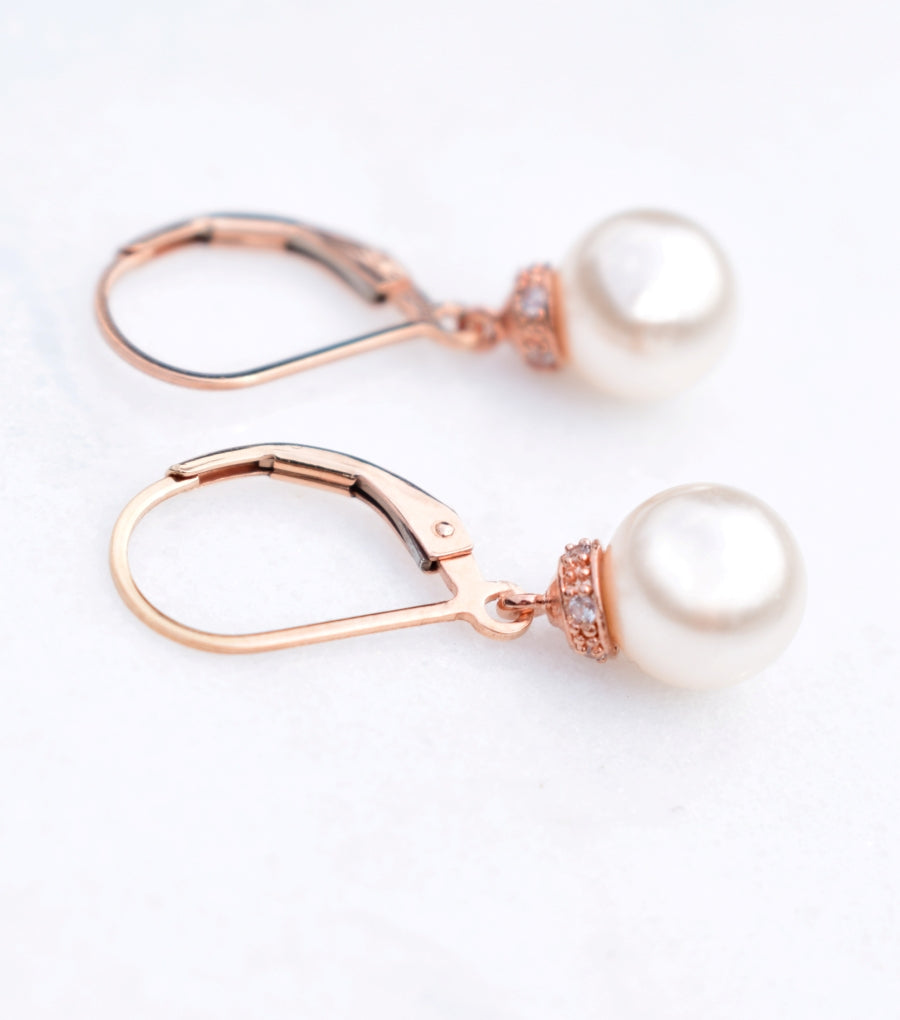 Embellished Round Pearl Drop Earrings in Rose Gold, earrings - Katherine Swaine