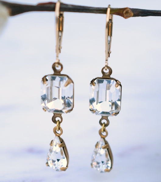 Emerald-Cut Crystal Droplet Earrings - Katherine Swaine