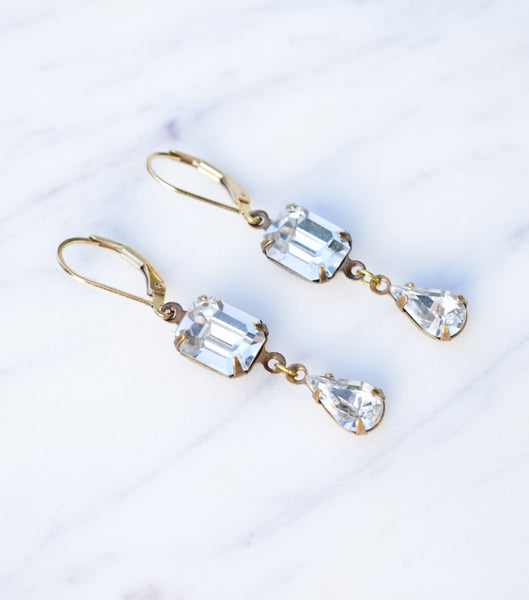 Emerald-Cut Crystal Droplet Earrings, earrings - Katherine Swaine
