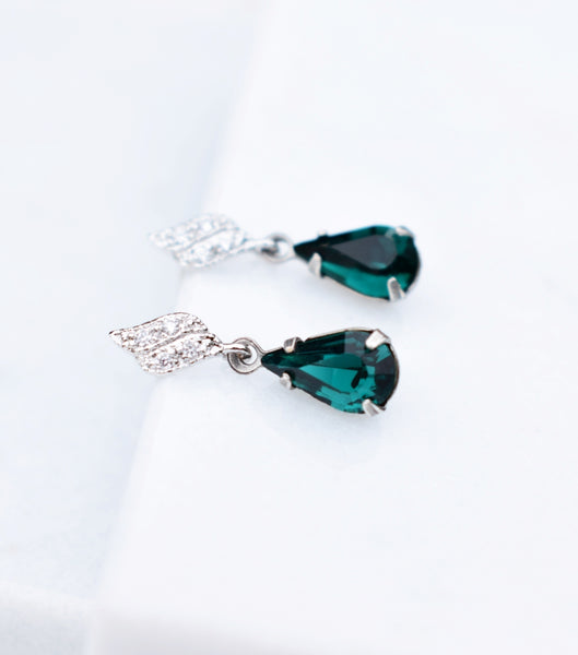 Emerald Green Rhinestone Drop Earrings, earrings - Katherine Swaine