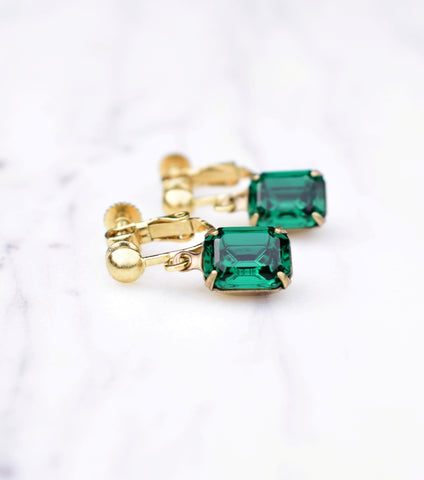 Emerald Green May Birthstone Clip On Earrings, earrings - Katherine Swaine