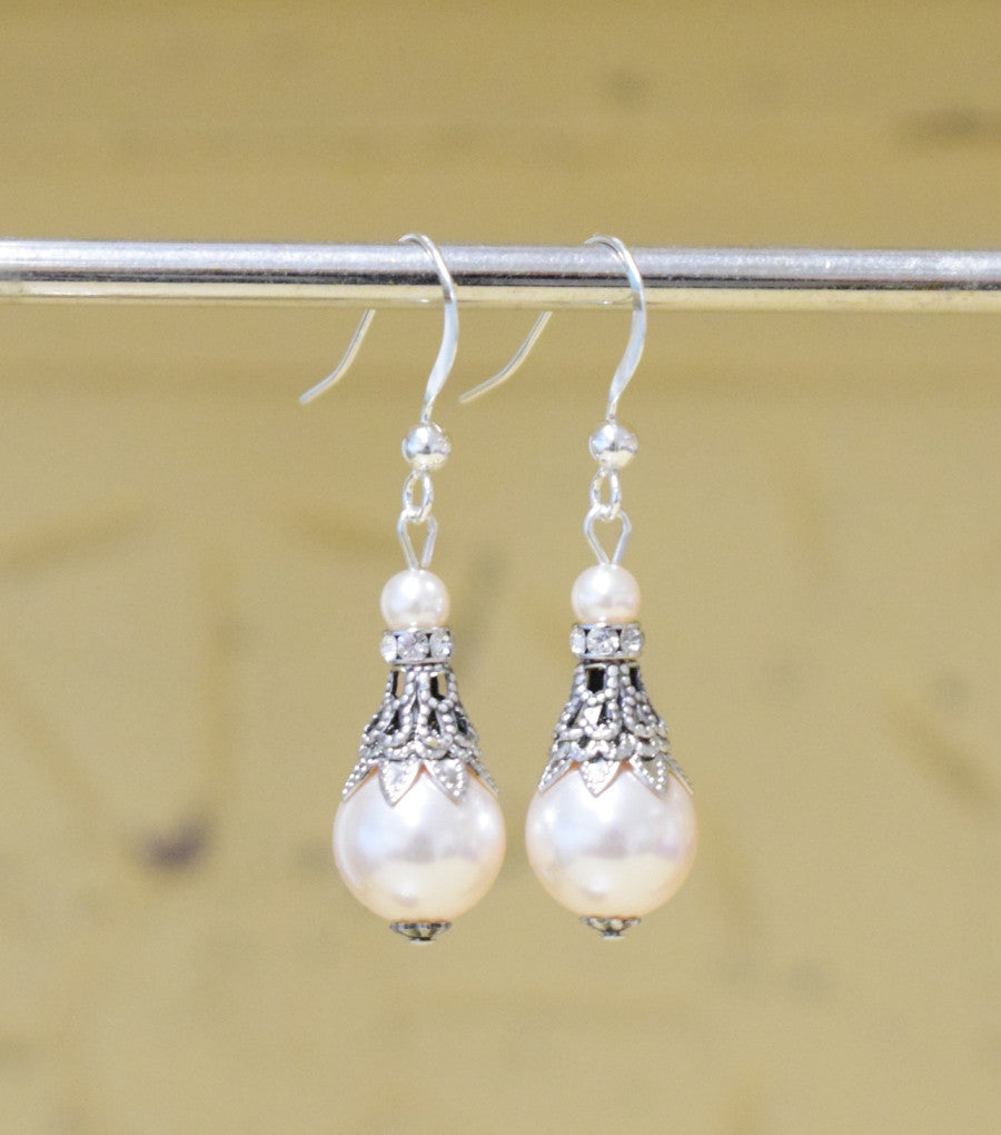Filigree And Pearl Fish Hook Earrings, earrings - Katherine Swaine