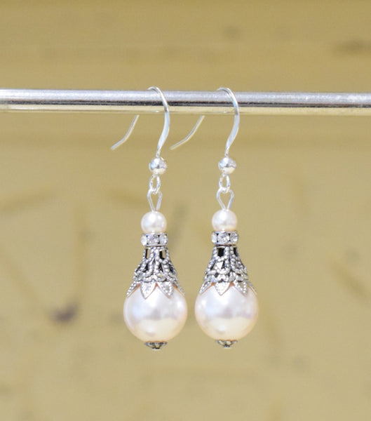 Filigree And Pearl Fish Hook Earrings - Katherine Swaine