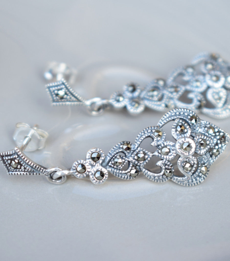Filigree Marcasite Silver Earrings, earrings - Katherine Swaine