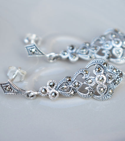 Marcasite Filigree Silver Earrings - Katherine Swaine