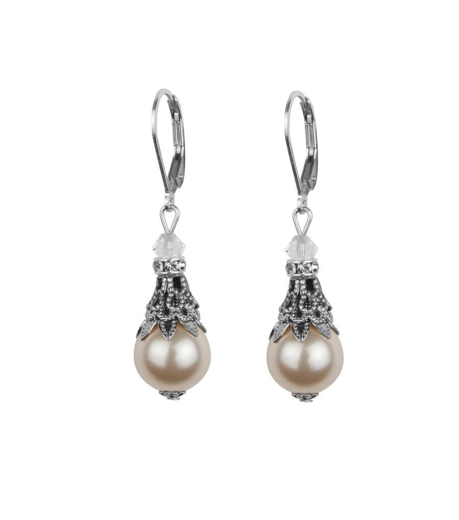 79af9a5ea71555 Filigree And Pearl Leverback Earrings, earrings - Katherine Swaine