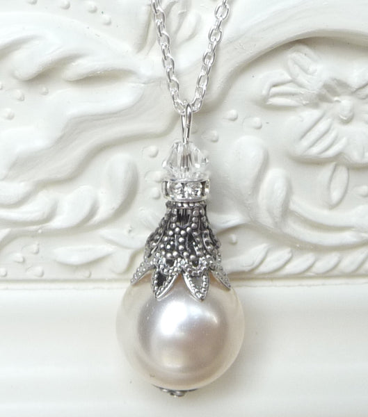 Filigree And Pearl Pendant Necklace, Necklace - Katherine Swaine