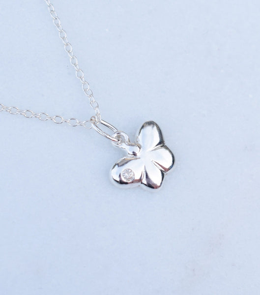 Girls Silver Butterfly Pendant With Cubic Zirconia - Katherine Swaine