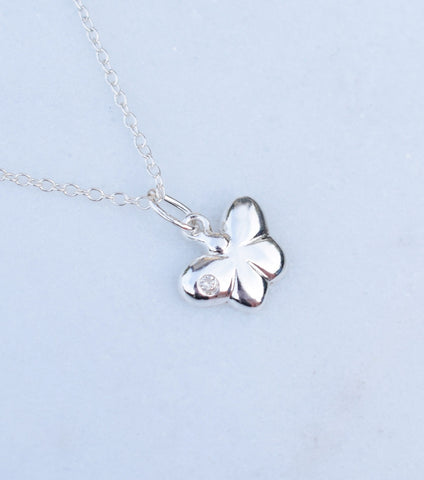 Girls Silver Butterfly Pendant With Cubic Zirconia, Necklace - Katherine Swaine
