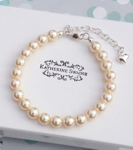 Girls Single String Pearl Bracelet, bracelet - Katherine Swaine