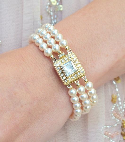 Gold Art Deco Inspired Three String Pearl Bracelet, bracelet - Katherine Swaine