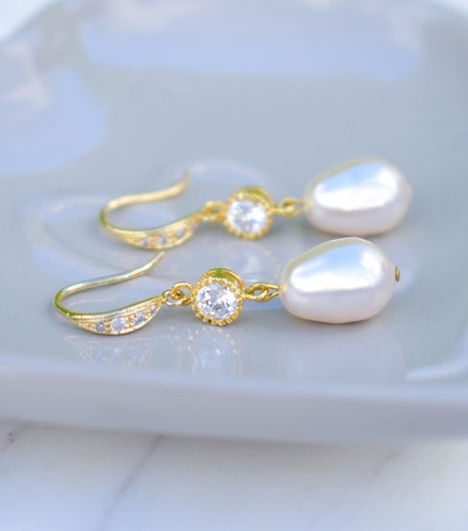 Gold Crystal And Pearl Fish Hook Earrings, earrings - Katherine Swaine