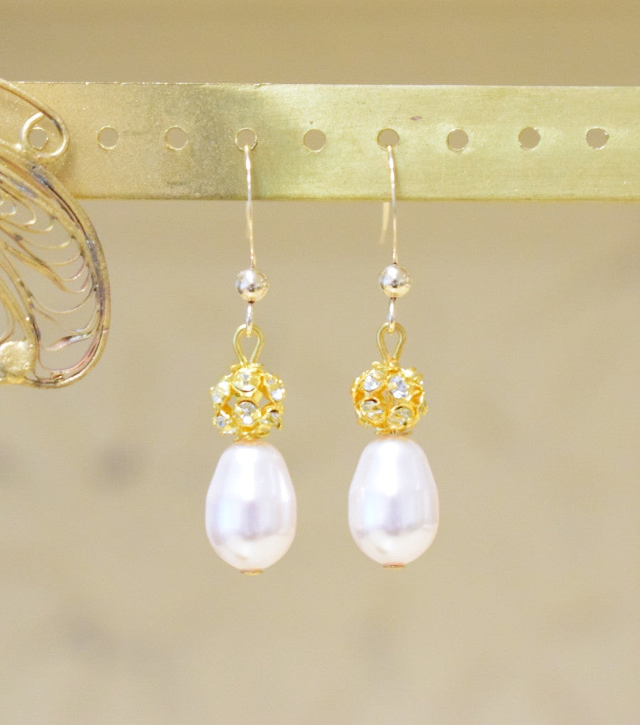Gold Diamante and Pearl Drop Earrings, earrings - Katherine Swaine