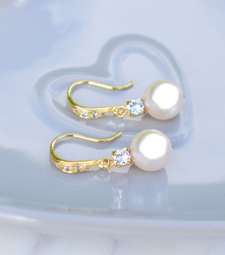 Yellow Gold Rhinestone And Pearl Fish Hook Earrings, earrings - Katherine Swaine