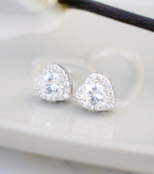 Heart Cubic Zirconia Stud Earrings, Katherine Swaine