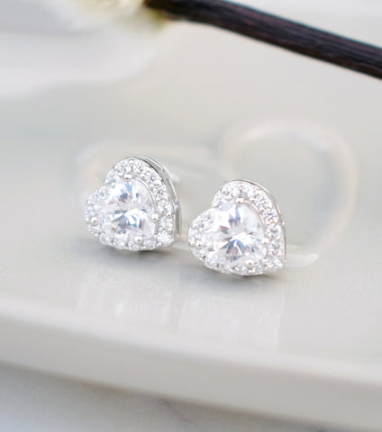 Heart Cubic Zirconia Stud Earrings, earrings - Katherine Swaine