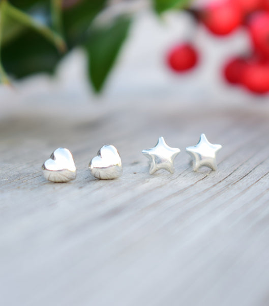 Hearts and Stars Sterling Silver Earring Set