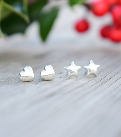 Hearts and Stars Sterling Silver Earring Set, earrings - Katherine Swaine