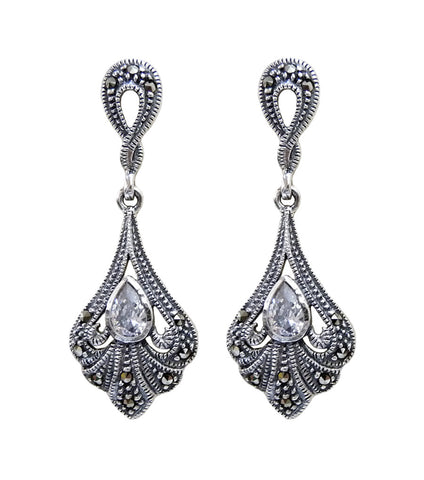 Vintage Inspired Marcasite Swirl Earrings, earrings - Katherine Swaine